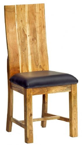 Pair of High Wooden Back Dining Chairs